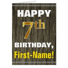 #Bold Faux Wood Faux Gold 7th Birthday  Name Card - #birthday #gifts #giftideas #present #party
