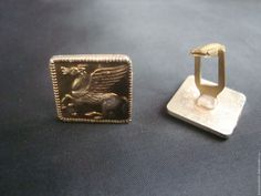 Купить Винтажные металлические запонки Пегас - золотой, мужские запонки, винтажные запонки, ретро стиль