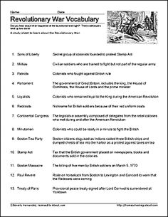 Learn About the Revolutionary War with Free Printables: Revolutionary War Printable Study Sheet