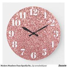 Modern Numbers Faux Sparkly Rose Gold Glitter Large Clock