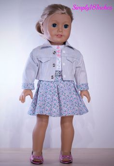 Reserved for Empress. American Girl  Doll Clothing.  Sleeveless Cotton blouse, Pleated Skirt, Denim Crop Jacket and Purse Ensemble. $89.00.