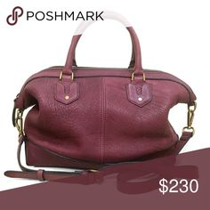 """❤️ Madewell Berliner Satchel in Dark Cabernet Madewell Berliner Satchel in Dark Cabernet  A soft, slouchy shape and beautiful, thick pebbled leather make this satchel one of the best. This bag is in excellent condition with only very minor wear to the leather. Can be carried by hand, or worn crossbody or as a shoulder bag. Professionally cleaned and conditioned.  Approximately 10.5""""h x 12""""w x 5""""d  ❌ Sorry, no trades. Madewell Bags Satchels"""