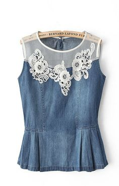 Flowers Lace Denim Top ♥Two opposite make a style whole. Denim And Lace, Denim Top, Blue Denim, Sewing Clothes, Diy Clothes, Sewing Jeans, Denim Fashion, Womens Fashion, Fashion Clothes