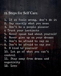 Positive Quotes : 12 steps for self care. Positive Quotes : 12 steps for self care. Positive Vibes, Positive Quotes, Motivational Quotes, Inspirational Quotes, Meaningful Quotes, Daily Quotes, Life Quotes, Trust Your Instincts, How To Better Yourself