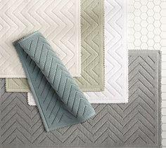Honeycomb tile floor, gray chevron sculpted bath mat