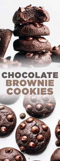 You'll love every bite of these chocolate brownie cookies! They're not only decadent but are made with surprisingly healthy ingredients like oat flour and coconut sugar. It's the perfect easy cookie recipe for any occasion that will satisfy your sweet tooth without the guilt or regret! | asimplepalate.com #brownie #cookie #oatflour #coconutsugar Chocolate Brownie Cookie Recipe, Double Chocolate Chip Cookies, Chocolate Brownies, Melting Chocolate, Easy Cookie Recipes, Healthy Dessert Recipes, Desserts Menu, Easy Desserts, Oat Flour Recipes