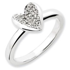 Stackable Expressions Sterling Silver Heart Diamond Ring.  Sale Priced At $120!  #QSK1068.  Sizes 5-6-7-8-9-10.