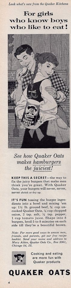 Quaker Oats hamburger recipe 1959 - funny. That's how my mom made them!