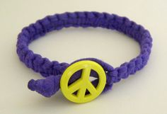 Purple Macrame Bracelet with Neon Yellow Peace Sign...school colors!