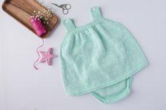 Vestido bebe mint-2 Knitting For Kids, Baby Knitting, Boho Shorts, Free Pattern, Knit Crochet, Winter Hats, Rompers, Summer Dresses, 1