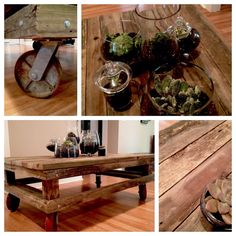 coffee table made from weathered wood, galvanized bolts and old casters. Made with Love