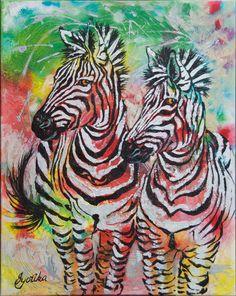 Companion Zebras 24x30 Acrylic