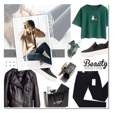 """""""Green And Black"""" by m555m ❤ liked on Polyvore featuring New Look, H&M, Ash, Chicnova Fashion, Levi's, Chanel and D&G"""