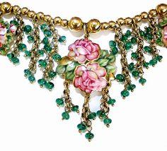 """18 karat yellow gold necklace by top Italian fine jewelry designer and enamel artist master Gabriella Rivalta.."""
