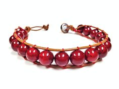 Crimson Red Bead Leather Woven Bracelet made by CHRISTIANIMAL