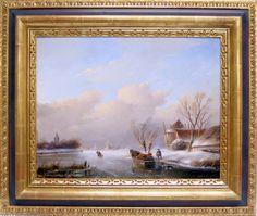 """JAN JACOB SPOHLER Dutch (1811-1866) Figures Ice Skating on a Frozen River Dutch Master Artist Medium: Oil on panel Signed: lower left """"J. J. Spohler"""" Size: 15"""" x 19.3"""" or (38.1 cm x 49 cm.)#intheberkshires"""
