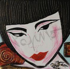 DIGNITY - 40x40 cm. Acrilc on canvas #GEISHA