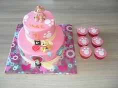 Roze Paw patrol taart met cupcakes/ Pink paw patrol cake with cupcakes