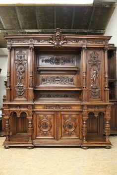 Exceptional Walnut Monumental Renaissance Cabinet 19th C Antiq Houtroos Victorian