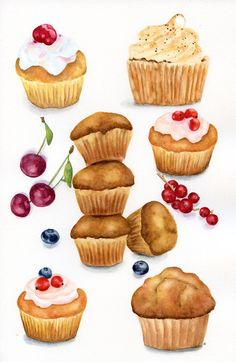 Muffins and Berries Colorful, by ForestSpiritArt Cupcake Art, Cupcake Cakes, Cupcakes, Cake Vector, Dessert Illustration, Bakery Kitchen, Watercolor Food, Tea Art, Food Journal