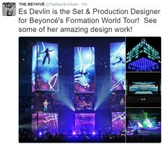 Es Devlin is the Set Designer fashion Beyoncé's Formation World Tour.