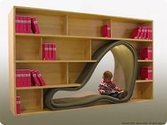 Unique Kids' Book Storage + could use for part toy storage Eclectic Bookcases, Creative Bookshelves, Bookshelf Design, Bookshelf Ideas, Modern Bookshelf, Kids Bookcase, Computer Armoire, Book Storage, Book Shelves