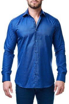 Maceoo shirt - Luxor Blue Check - Men Fashion - 1