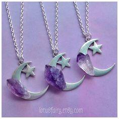 Amethyst Moon necklace crystal, gemstone, raw amethyst