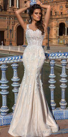 Crystal Design 2017 bridal sleeveless sheer jewel sweetheart neckline heavily embellished bodice lace elegant fit and flare wedding dress a line overskirt sheer back sweep train (martina) mv #wedding #bridal #weddingdress