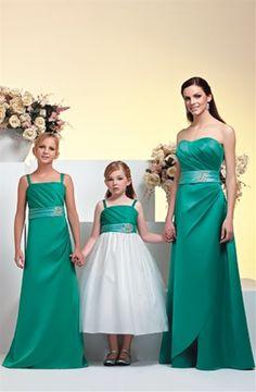 Cheap and Australia Green Column Elastic Satin Floor Length Junior Bridesmaid Dresses from Dresses4Australia.com.au