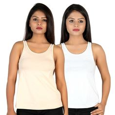 Letizia Women's Cotton A-line Tank Top Pack of 2 (White & Beige): Amazon.in: Clothing & Accessories Tops Online, White Beige, Clothing Accessories, Basic Tank Top, India, Amazon, Tank Tops, Girls, Cotton