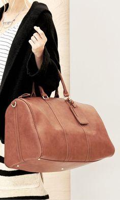 brown weekender bag