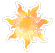 'Orange and Yellow Sun Watercolor' Sticker by livpaigedesigns Cute Laptop Stickers, Bubble Stickers, Cool Stickers, Printable Stickers, Journal Stickers, Planner Stickers, Collage Mural, Homemade Stickers, Watercolor Stickers