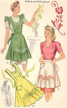 Commercial Pattern Archive: vintage sewing: McCall 1124 c.1944 misses apron. Click on broken link for pattern pieces.