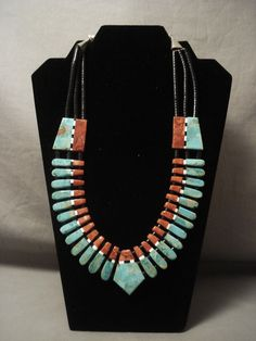 Advanced Inlay Vintage Santo Domingo Turquoise Coral Necklace