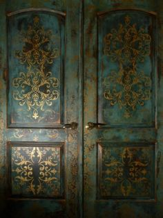 Love the gold and patina finish! Bohemian doors by Vancouver, WA's Johanna's Design Studio.
