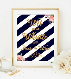 Wedding Sign - Navy Blue Gold Glitter Watercolor Flowers - Beer and Wine - Instant Download Printable