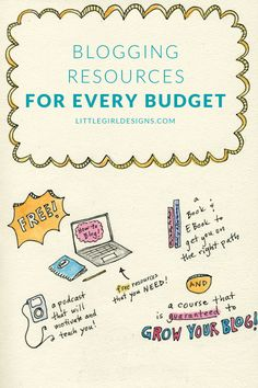 Blogging Resources for every budget - I've compiled a list of resources that cover what you need to know as a blogger. Podcasts, newsletters that are packed with information, a great learn to blog series (that's free!), a course that will give you RESULTS, a pin scheduler that is cost-effective (and works!) and even a workout to counteract all of those hours sitting at the computer! :) @littlegirldesigns.com