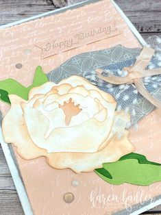 A Soft and Subtle Birthday Card highlighting the stunning 3D peony in the Peony Garden Suite. This suite has a beautiful old world feel about it/Happy CraftingKaren Birthday Cards, Happy Birthday, Peonies Garden, Colored Highlights, Old World, Peony, Stampin Up, Bloom, Thankful