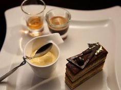 Gâtéau opera with gold leaf and affogato / MKR / Nic and Rocco No Bake Desserts, Delicious Desserts, Dessert Recipes, Opera Cake, My Kitchen Rules, Cooking Competition, Affogato, Brownie Cake, Brownies