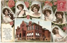Antique Postcard, circa 1910 Guthrie, Oklahoma Pretty women's faces inside a string of bells with inset of Guthrie Carnegie Library building Guthrie Belles Photo Postcards, Vintage Postcards, Vintage Photos, Guthrie Oklahoma, Normal School, High School, Carnegie Library, Old Libraries, Paris Texas