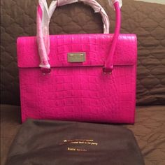 """Kate spade Sinclair tote Kate spade Sinclair  Orchard valley pinksaphre Croc-embossed leather with 14-karat light gold plated hardware 13.5""""(L) x 10.5""""(H) x 5.5""""(W) Top handles with 7.5"""" drop Flap closure; protective metal feet Interior features zip, cellphone and multi-function pockets kate spade Bags Totes"""