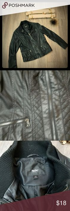 Mossimo moto jacket Very cute faux leather Moto jacket. Quilted detailing with a sweater color. Slight worn on one shoulder. Not very noticeable. Perfect addition to your fall closet! Mossimo Supply Co. Jackets & Coats Blazers