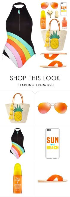 """Rainbow Swimsuit"" by lgb321 ❤ liked on Polyvore featuring Sensi Studio, Prada, River Island, Sun of a Beach, Ancient Greek Sandals, Zoya and Seoul Little"