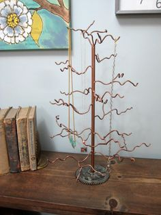 Recycled steel tree for jewelry, ornaments, or decoration, $55