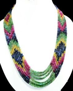 7 Strands Natural Ruby Emerald Sapphire 444ct Multi Row Gemstone Beads Necklace #KrishnaGemsNJewels #StrandString