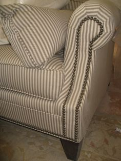 This Is What Our New Couch And Love Seat Look Like Latest Challenge Striped Sofaticking