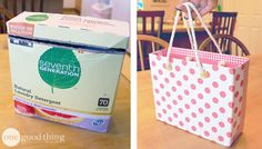Turn a laundry detergent box into a cute gift bag :-)
