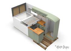 Slide Out Bed - Pulled Out Campervan Bed, Campervan Interior, Van Conversion Interior, Camper Van Conversion Diy, Minivan, Motorhome, Camper Van Shower, Camper Beds, Build A Camper Van