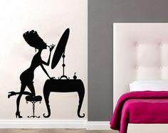 Pared etiqueta salón de belleza vinilo Sticker por WallDecalsPro